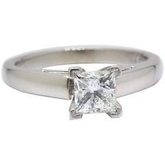 Leo Diamond Engagement Ring Princess Cut 0.75 Carat I SI1 14 Karat White Gold