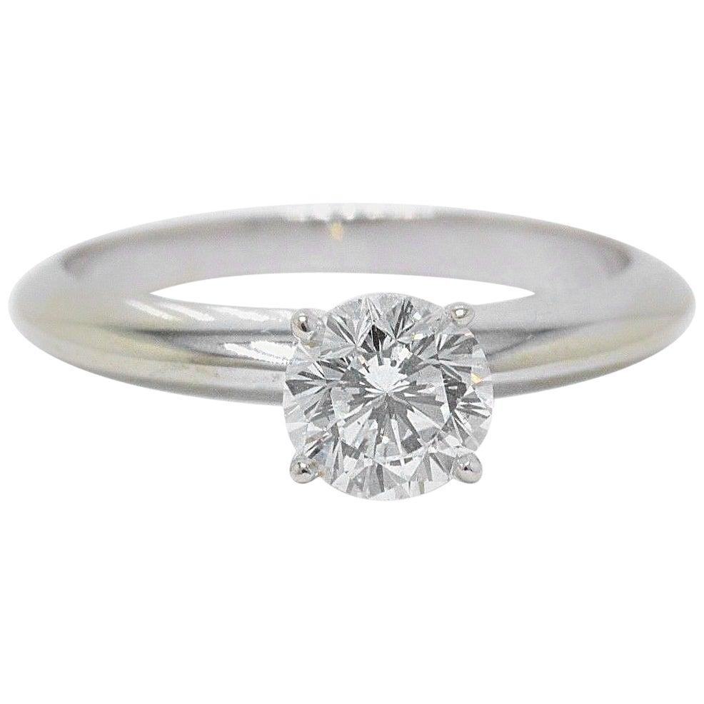 Leo Round Diamond Solitaire Engagement Ring 0.67 Carat I SI1 14 Karat White Gold