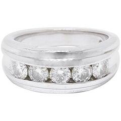 Leo Diamond Wedding Band Round Cuts 1.75 Carat I SI2 14 Karat White Gold