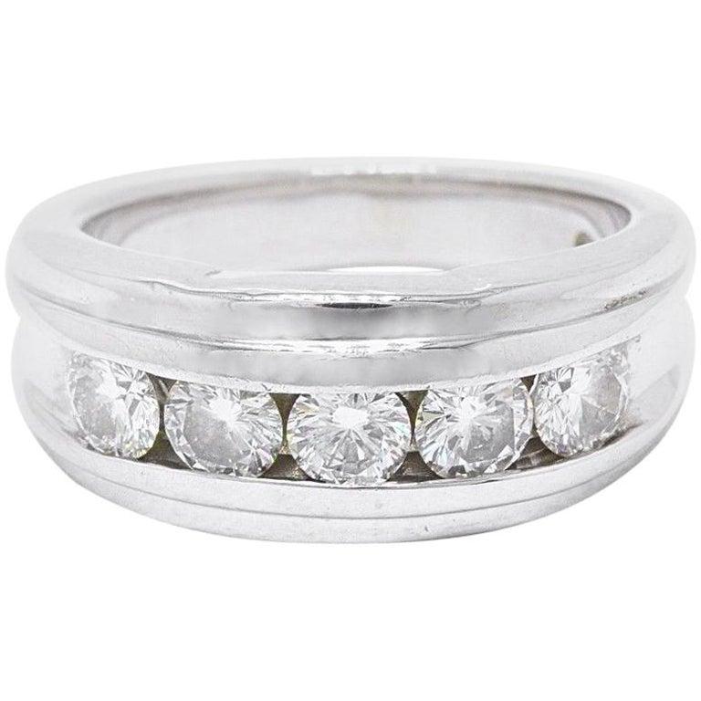 Leo Diamond Wedding Band Round Cuts 1 75 Carat I Si2 14 Karat White Gold For