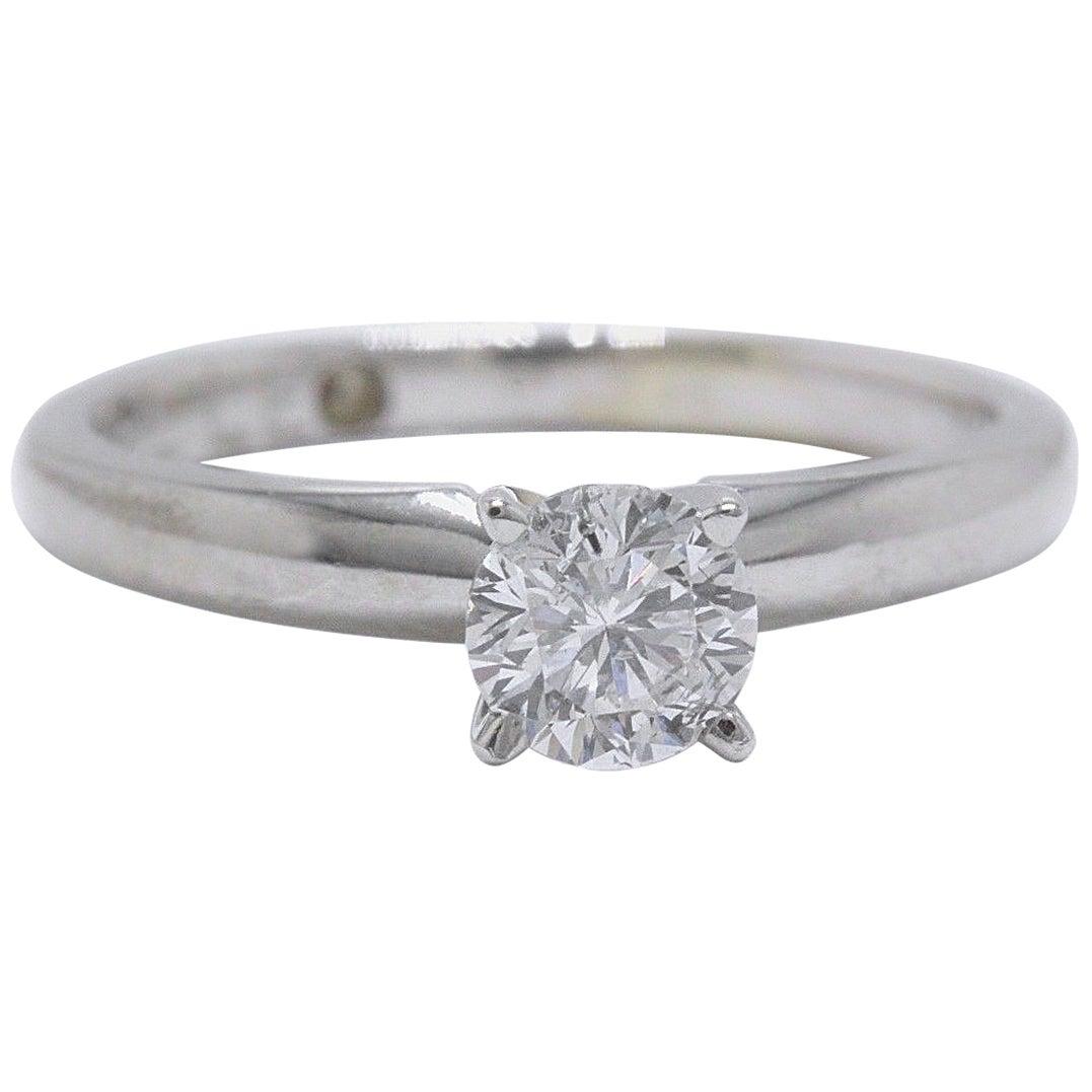 Leo Round Diamond Solitaire Ring 0.45 Carat E I1 14 Karat White Gold