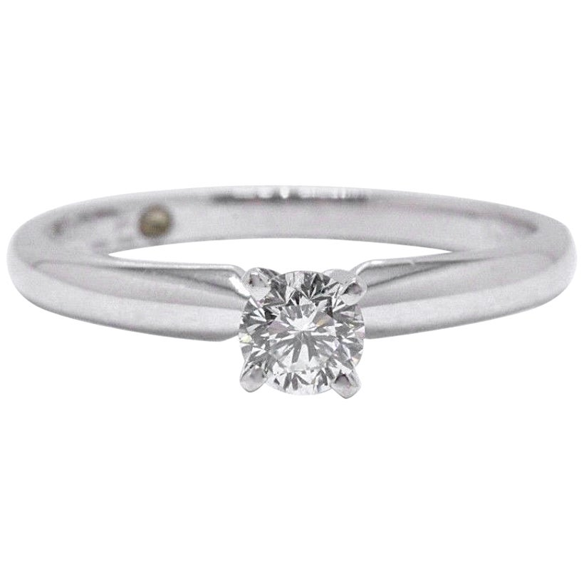 Leo Round Diamond Solitaire Engagement Ring 0.30 Carat I VVS2 14 Karat Gold