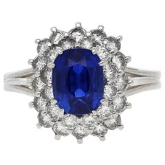 AGL Certified 2.71 Carat Art Deco Unheated Kashmir Sapphire and Diamond Ring