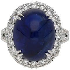 AGL Certified 16.68 carat Cabuchon-Cut Ceylon Sapphire and Diamond Ring
