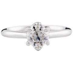 Kian Design White Gold 1.00 Carat Old European Cut Diamond Engagement Ring