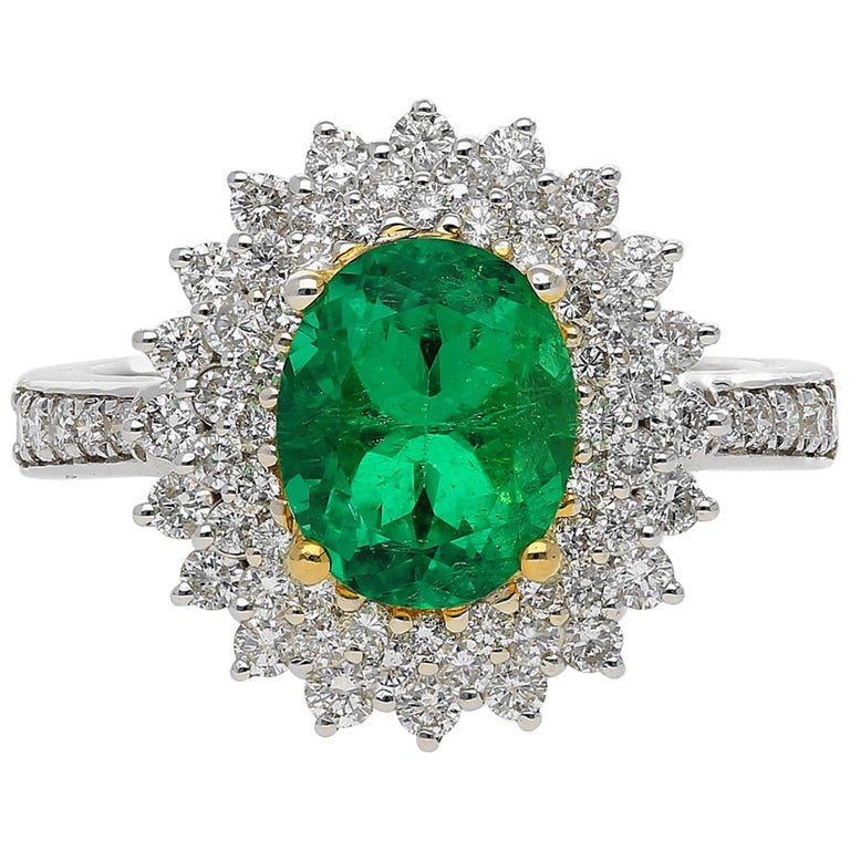 GIA Certified Emerald-Cut 1.76 Carat Colombian Emerald and Diamond Ring For Sale