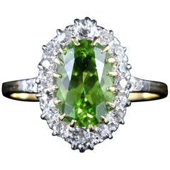 Antique Victorian Peridot Diamond Ring 18 Carat Gold, circa 1900