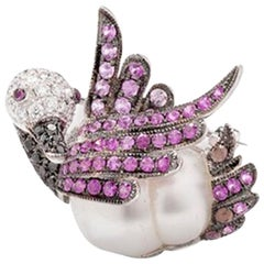 Swan Brooch with South Sea Cultured Pearl, Pink Sapphires 18 Karat White Gold