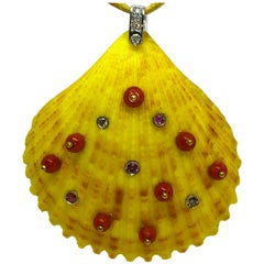 Red Coral Beads Pink Tourmalines White Diamonds Natural Yellow Seashell Pendant