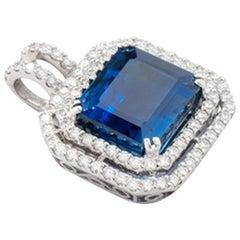 Kyanite Diamond 18 Karat White Gold Pendant
