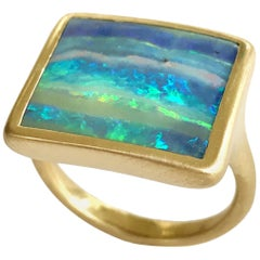 Dalben Design Blue Green Australian Boulder Opal Rectangular Yellow Gold Ring