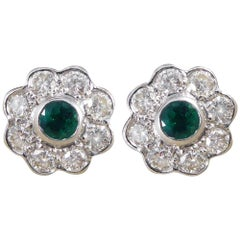 Emerald and Diamond 18 Carat White Gold Cluster Earrings