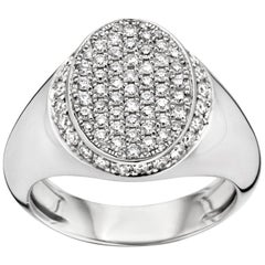 18 Karat White Gold and White Diamond Signet Ring