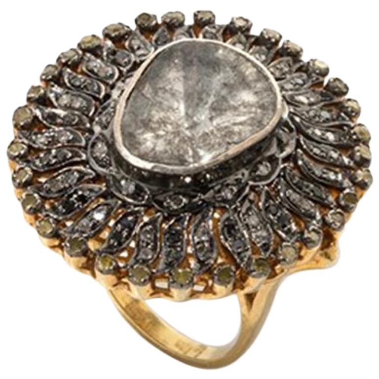 Silver Gold Diamond Cluster Cocktail Ring