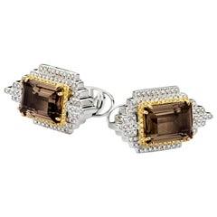 Emperor 18 Karat White Gold Diamond and Quartz Cufflinks