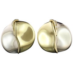 Misani 18 Karat Two-Tone Gold and Diamond Earrings, Italy