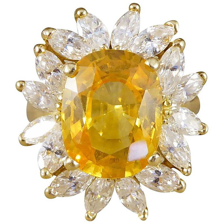 Large Yellow Sapphire and Marquise Diamond 18 Carat Gold Cluster Ring