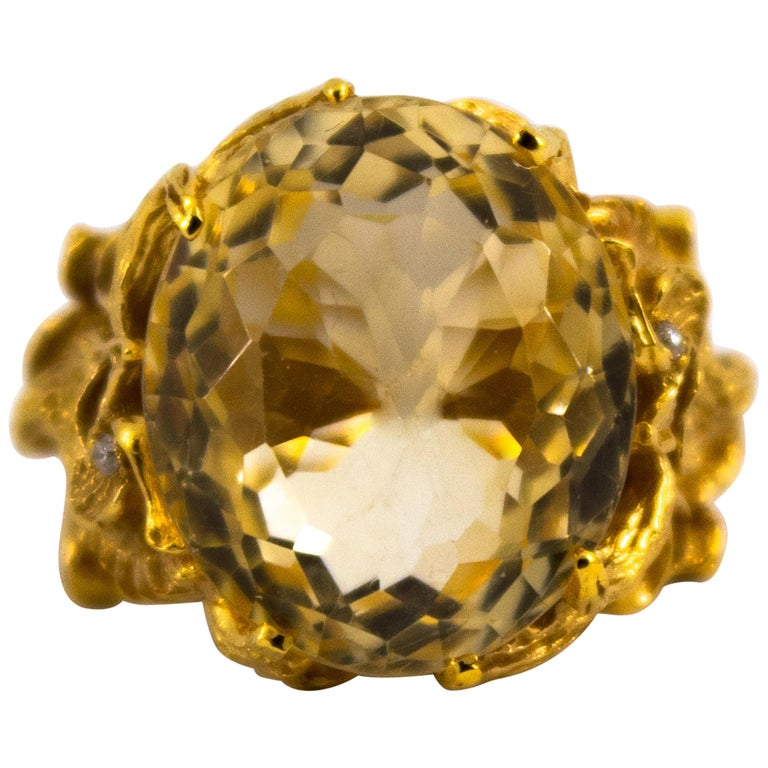 "27.75 Carat Citrine White Diamond Yellow Gold ""Dragons"" Cocktail Ring"