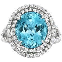 Tivon 18 Carat White Gold Santa Maria Aquamarine and Diamond Ring
