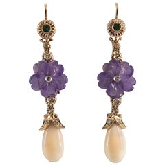 Pink Coral Emerald Amethyst 0.35 Carat White Diamond Yellow Gold Drop Earrings