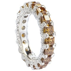 Frohmann Eternity White Gold and Fancy Brownish Orange Diamond Ring