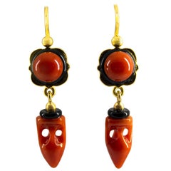 "Mediterranean Red Coral Onyx Yellow Gold Lever-Back ""Amphora"" Earrings"