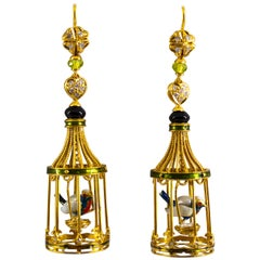 Pearl Onyx Coral Quartz Enamel White Diamond Yellow Gold Bird Cage Drop Earrings