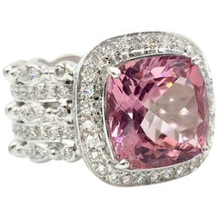 Doris Panos Pink Tourmaline and Diamond 18 Karat White Gold Cocktail Ring