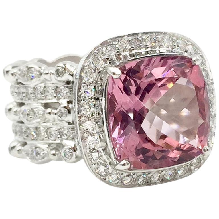 Doris Panos Pink Tourmaline and Diamond 18 Karat White Gold Cocktail Ring