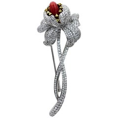 Natural Conch Pearls and Diamonds Flower Brooch