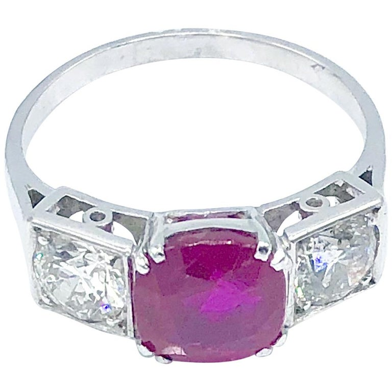 Burma No Heat Ruby and Diamond Ring