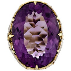 Exquisite Antique Amethyst and Two-Colored 14 Karat Gold Ring