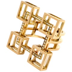 Contemporary Frohmann Architectural Beige Gold and Diamond Aéré Ring