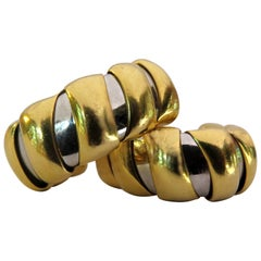 Timeless Bvlgari Bulgari Gold and Steel Tubogas Hoop Earrings
