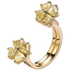 Frohmann Yellow Gold with Fancy Yellow Diamonds Swivel Butterfly Flower Ring