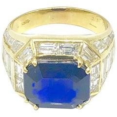 Gold and Diamond Trombino Ring with Emerald Cut Burma Sapphire 7.47 Carat