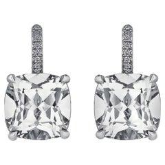 Cushion Cut Medium Size White Topaz Diamond Platinum Drop Earrings