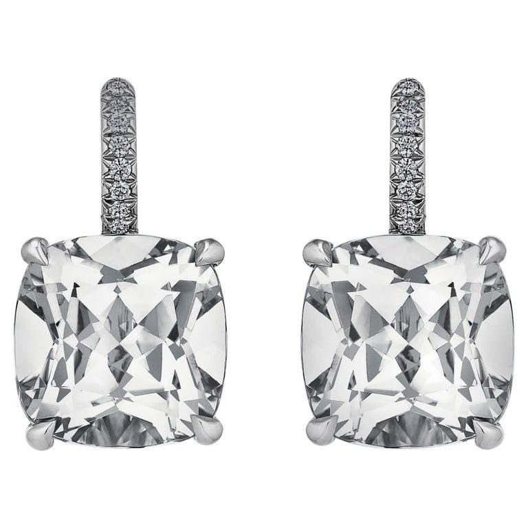 Cushion Cut Medium Size White Topaz Diamond Platinum Drop Earrings For Sale