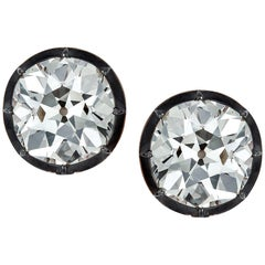 Important 24.66 Carat Old European Diamond Gold Silver Stud Earrings