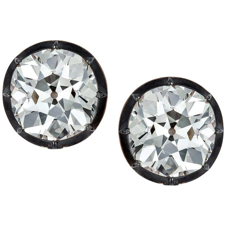 Important 24.66 Carat Old European Diamond Gold Silver Stud Earrings