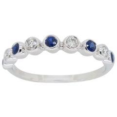 Diamond and Blue Sapphire Bezel Set Band