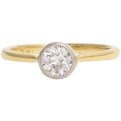 BL Bespoke 0.47 Carat Transitional Cut Diamond Millegrain Solitaire Ring