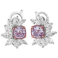 GIA Certified Fancy Pink Diamond Earrings, 2.43 Carat