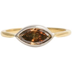 BL Bespoke 0.81 Carat Marquise Cognac Diamond Millegrain Ring