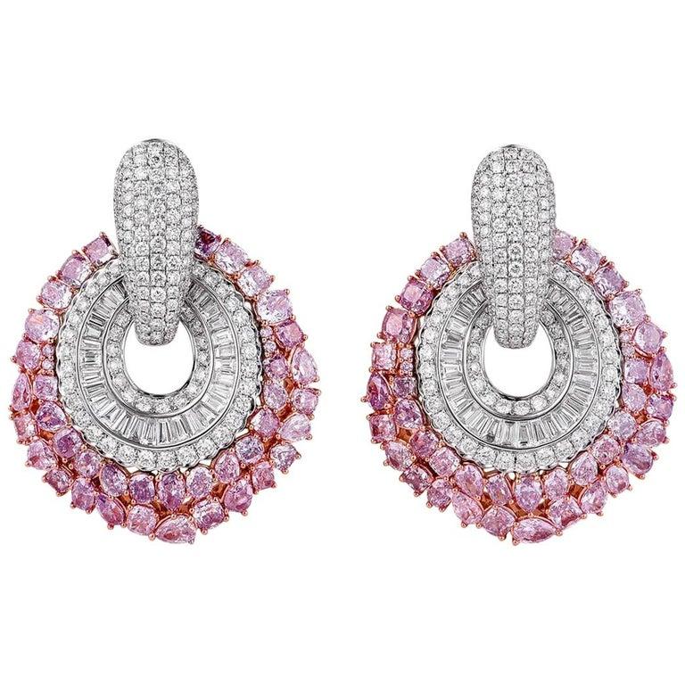 Fancy Pink Diamond Earrings 14 46 Carat For