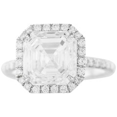 GIA 5.01 Carat F VS1 Asscher Cut Halo Diamond Engagement Ring
