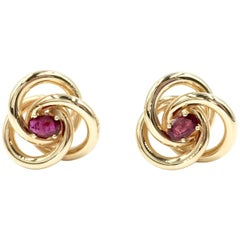 14 Karat Yellow Gold and Ruby Knot Cufflinks
