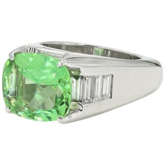 5.22 Carat Natural Green Beryl and Baguette Diamond Ring in Platinum