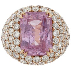 16.67 Carat Burma Unheated Padparadscha Sapphire and Diamond Ring