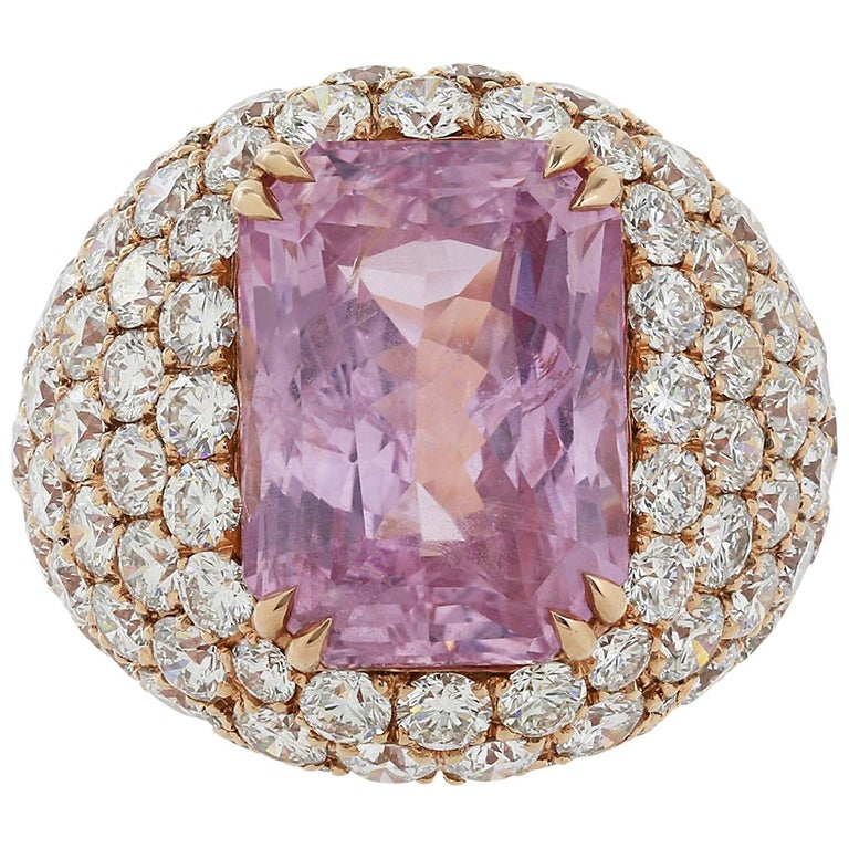 16.67 Carat Burma Unheated Padparadscha Sapphire and Diamond Ring For Sale